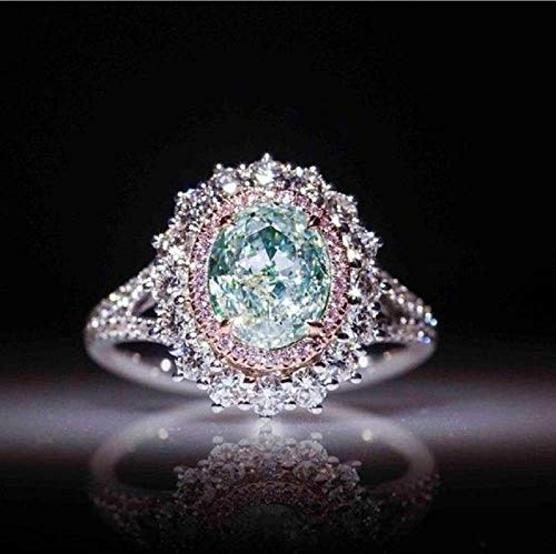 Weishu Best Selling New Pink Crystal Diamond Ring Inlaid Green Topaz Color Treasure Engagement Ring Female Jewelry (US Code 6)