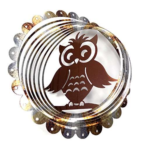 Painted Bronze Sculpture - WorldaWhirl Whirligig 3D Wind Spinner Hand Painted Stainless Steel Twister Owl(12