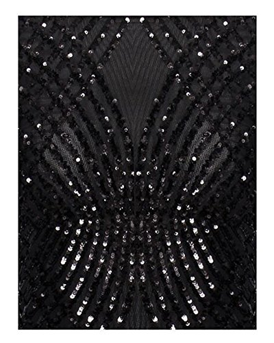 Party Whoinshop Sleeve Mini Neck Dress Black Sequin Backless Women's Long Mesh Round XrwRrAqz