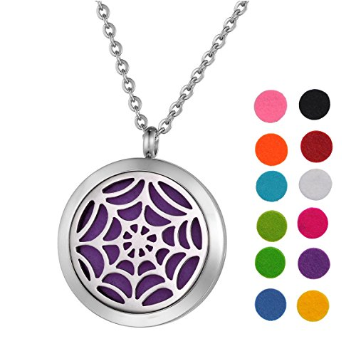 SG Stainless Steel Aromatherapy Essential Oil Diffuser Necklace with Spider Mesh for Women,Silver ()