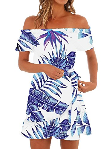 - Gemijack Womens Hawaiian Dresses Off The Shoulder Floral Short Sleeve Strapless Summer Beach Dress Royal Blue