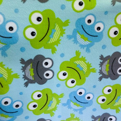 "Tie A Bow Frog Toss on Turquoise Anti Pill Animal Theme Fleece Fabric, 60"" Inches Wide – Sold By The Yard (FB)"