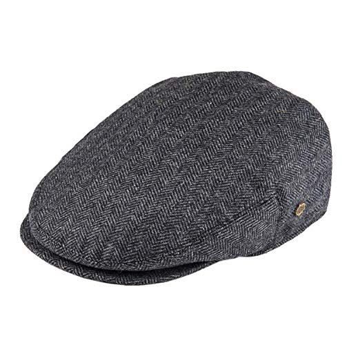 VOBOOM Men's Herringbone Flat Ivy Newsboy Hat Wool Blend Gatsby Cabbie Cap (Dark Grey, S) -