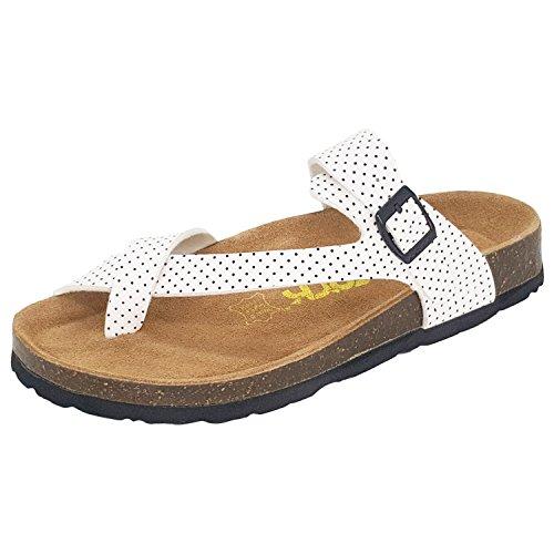 Kork Kvinna Tillfälliga Spänne Sandaler Flip Flop Plattform Fotbädd Vit