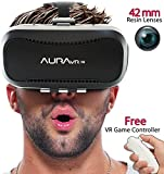 AuraVR Pro VR Headset with Remote Controller - 42MM Fully Adjustable VR Glasses- Inspired by Google Cardboard