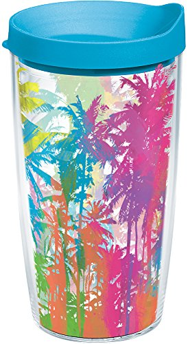 - Tervis 1164636 Neon Palm Trees Tumbler with Wrap and Turquoise Lid 16oz, Clear