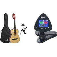 Rocket XF201EN XF SerieGuitarra española clásica + Eno Clip para afinador de guitarra y ukelele, Sintonizador de bajos y…