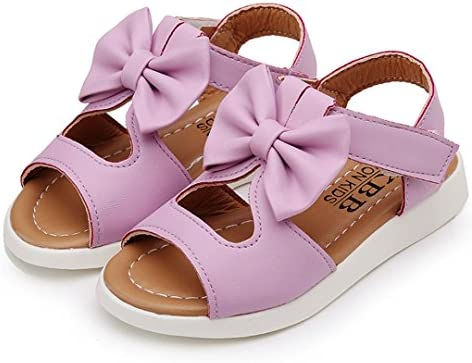 JIA&DI Girls Sandals Leather Solid Flower Bowknot Sandals