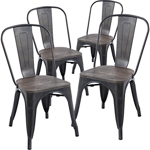Poly and Bark Tolix Style Bistro A Dining Side Chair, Elm Wood Seat in Bronze (Set of 4)