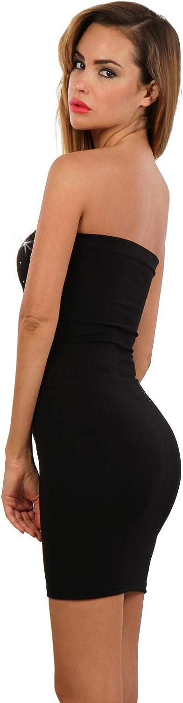 Miss Noir Damen Kleid elastisch und flexibel tragbar Einheitsgr/ö/ße Clubwear Partykleid