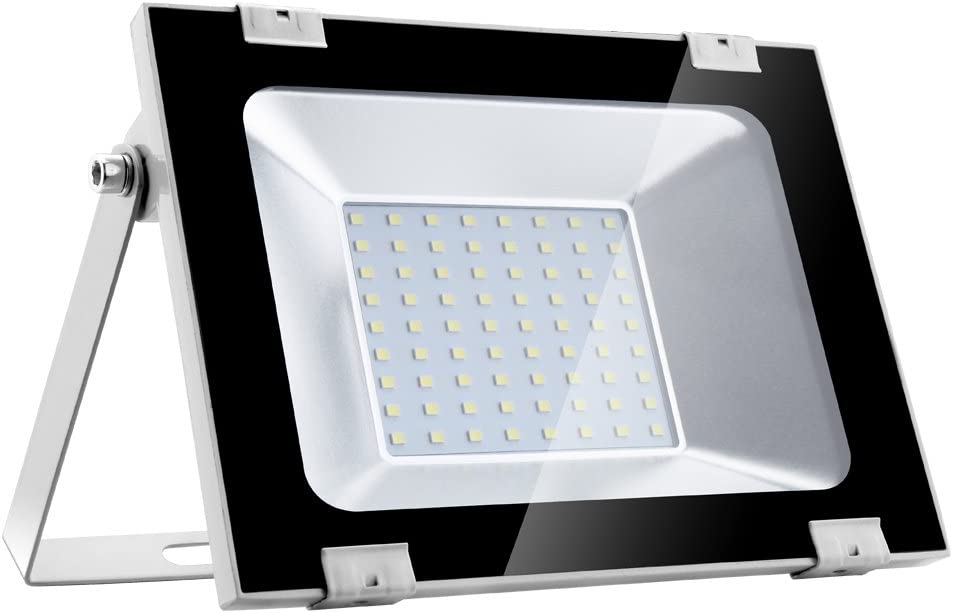Yuanline Focos LED Exterior de Blanco Frío 50W 5000LM, 6000-6600k, Ultrafino y Ultraligero para Jardín, Garaje, Patio, Estadio, Fábrica, Almacén, Cuadrado Resistente al Agua IP65