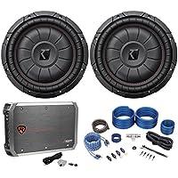(2) Kicker 43CVT102 COMPVT 10 1600 Watt Car Subwoofers+Mono Amplifier+Amp Kit