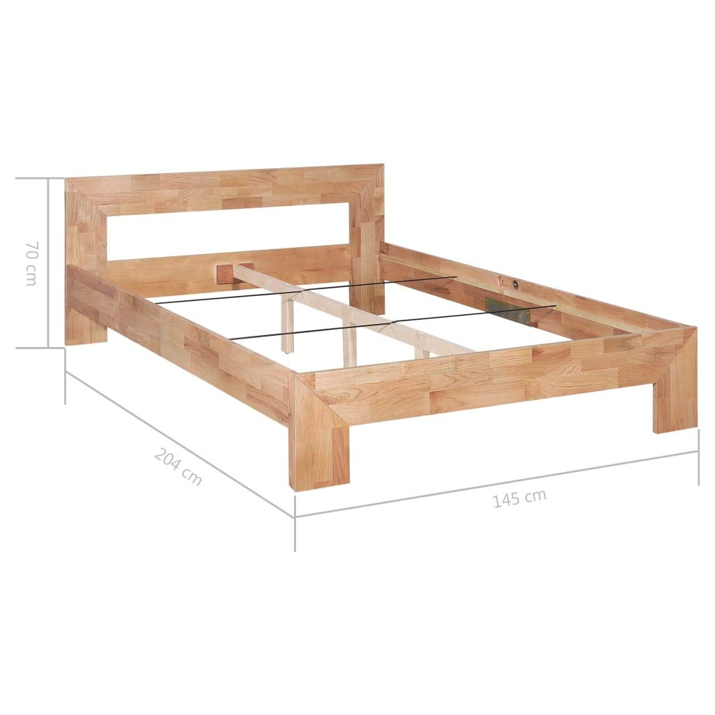 Tidyard Estructura Cama Madera Estructura de Cama de Madera Maciza de Roble Barnizada 145 x 204 x 70 cm 140 X 200 Cm