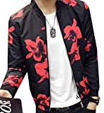 LTYY Mens Korean Printed Baseball Bomber Jacket Red S