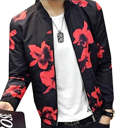 YLnini Korean Printed Baseball Bomber Jacket Coat Red