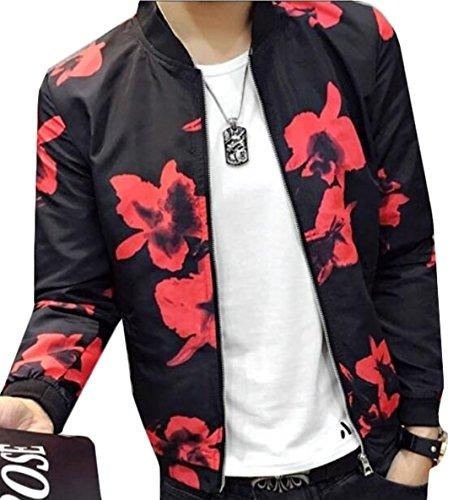 YLnini Korean Printed Baseball Bomber Jacket Coat Red