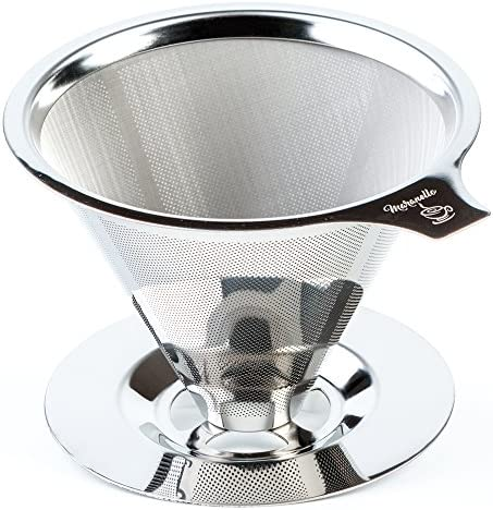 Maranello Caff Pour Over Coffee Dripper Stainless Steel Reusable Drip Cone Coffee Filter Portable Pour-Over Coffee Maker Paperless Metal Fine Mesh Strainer Coffee Pourover Brewer Camping Coffee Maker