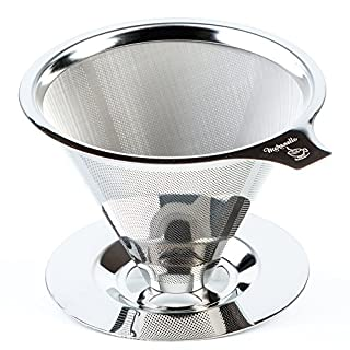 Maranello Caffé Pour Over Coffee Dripper Stainless Steel Reusable Drip Cone Coffee Filter Portable Pour-Over Coffee Maker Paperless Metal Fine Mesh Strainer Coffee Pourover Brewer Camping Coffee Maker