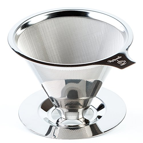 Maranello Caffé Pour Over Coffee Dripper with Cup Stand, Cone Filter Drip Coffee Maker, Stainless Steel Reusable Paperless Portable Coffee Filter Brewer