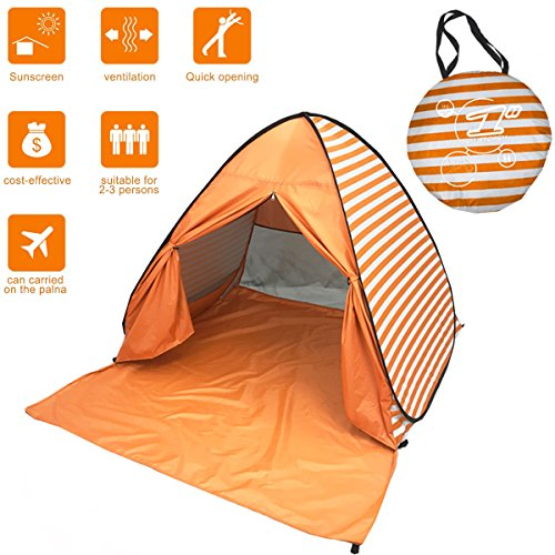 Kids Beach Cabana - FLYTON Pop Up Beach Tent Shade Sun Shelter UV Protection Canopy Cabana 2-3 Person for Adults Baby Kids Outdoor Activities Camping Fishing Hiking Picnic Touring (Orange Stripes)