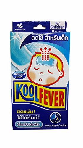 2 Boxes of Koolfever, Reduce Fever Cooling Gel Pads for Children, Whole Night Cooling, 1 Box X 6 Sheets (Size of 50 Mm X 110 Mm)