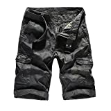 PENGYGY Men's Casual Pure Color Outdoors Pocket Beach Work Trouser Cargo Shorts Pant Cotton Camouflage Tooling Shorts