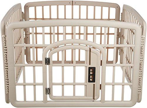 AmazonBasics 4-Panel Plastic Pet Pen, 24in, Beige (Kennel Pet Exercise Pen Cage)