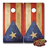 CL0016 Puerto Rico Flag Distressed CORNHOLE LAMINATED DECAL WRAP SET Decals Board Boards Vinyl Sticker Stickers Bean Bag Game Wraps Vinyl Graphic Tint Image Corn Hole