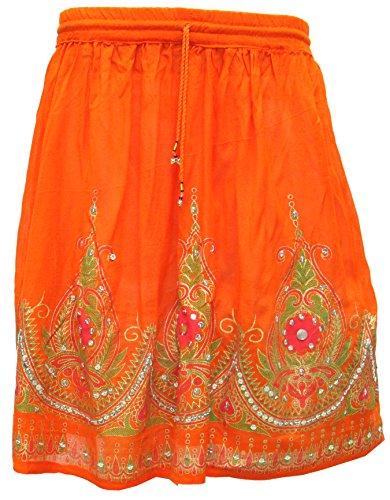 Femmes Jupes Indiennes Longueur Genou Paillettes Inde Vtements Orange 2
