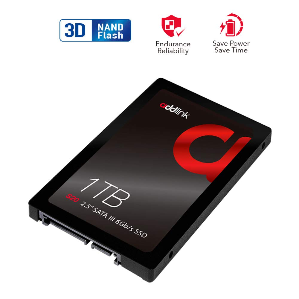 addlink S20 1TB SSD 3D NAND SATA III 6Gb/s 2.5-inch/7mm Internal Solid State Drive with Read 560MB/s Write 500MB/s (3D NAND 1TB)