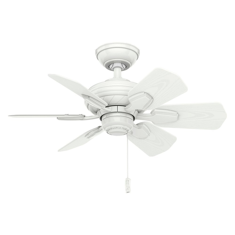 Casablanca Indoor Outdoor Ceiling Fan, with pull chain control – Wailea 31 inch, White, 59523