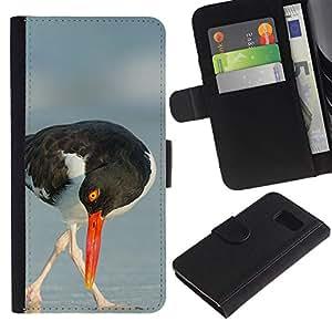 Billetera de Cuero Caso Titular de la tarjeta Carcasa Funda para Samsung Galaxy S6 SM-G920 / seagull beak sea summer nature bird / STRONG