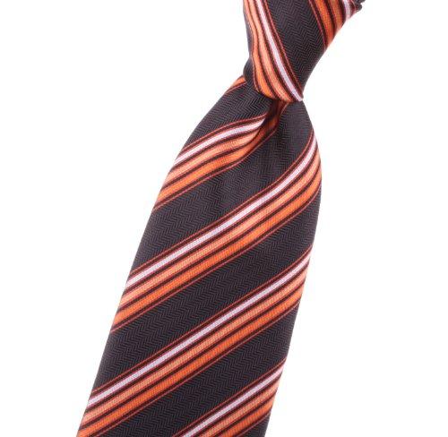 EXTRA LONG, LONG, XL - Neckties with black, orange, striped/stripes, design - by Jon vanDyk