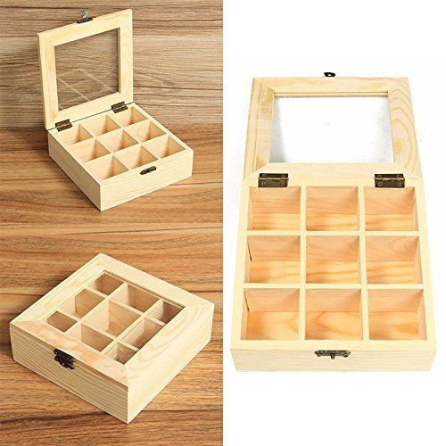 XENO-9 Compartments Wooden Tea Bag Jewelry Organizer Chest Storage Box Glass Top - Designer To Best Buy Sunglasses Place