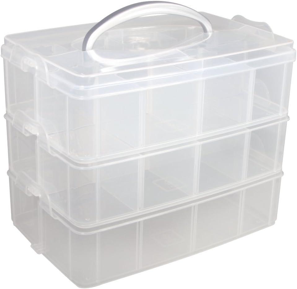 Rayher Caja clasificadora con asa, Surtido, 3 compartimentos, 23,1x15,6x18,5cm
