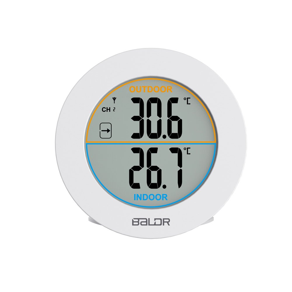 BALDR Wireless Thermometer Indoor/Outdoor, White TH0127WH1