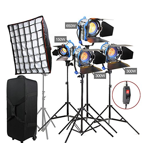 Arri Dimmer - Alumotech Dimmer Built-in Fresnel Tungsten 150W+300WX2+650W+ Air Cushioned Stand + Softbox 1400W Spotlight Halogen Lamp Studio Video Light Kit For Camera Photographic Lighting Compatible Bulb