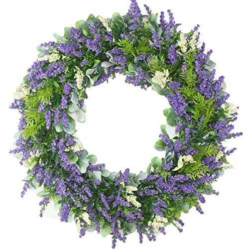 MomokoPeng 16 Inches Blossom Fall Front Door Wreath - Lush and Beautiful Spring Wreath,Indoor/Outdoor Use(Plastic Lavender)