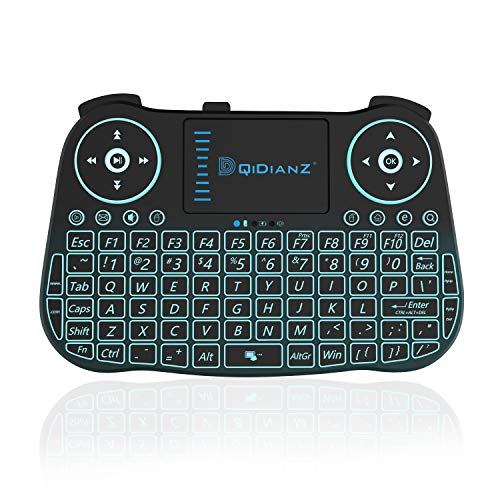 DQiDianZ Mini Wireless Keyboard 2.4G Backlit Touchpad Wireless Keyboard for Smart Android TV Box PC-Black, Built-in Lithium Battery
