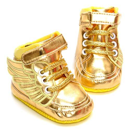 LIVEBOX Infant Baby Girls' Angel Wings Premium Soft Cotton Sole Prewalker Toddler Sneaker Shoes (L: 12~18 Months,Golden) by LIVEBOX