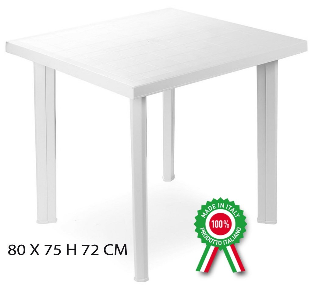 Tavolo tavolino quadrato in resina di plastica bianco Fiocco per esterno Savino Fiorenzo
