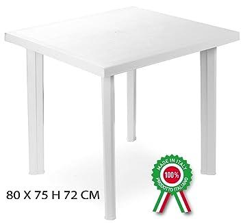 Savino Fiorenzo Fiocco Table carrée en résine de Plastique Blanc ...