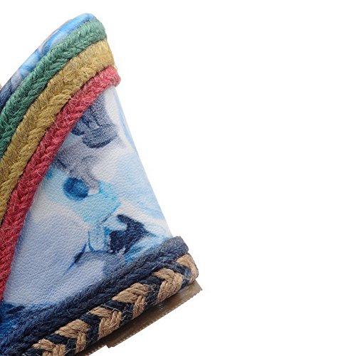 Allhqfashion Tacco Alto Da Donna Con Fibbia In Pelle Di Sandalo Open Toe Colore Assortito Blu
