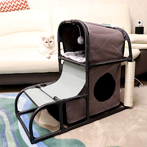 Goetland 4 in 1 Multi-Functional Cat Tree Condo Pet Furniture Jumbo Cat Tower House Bed Climber Peek Holes Scratching Post Dangling Toy