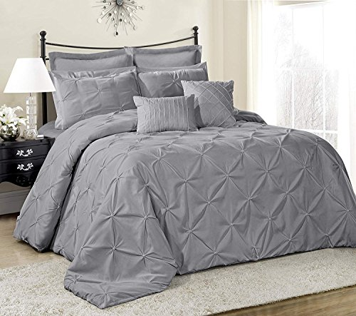 HIG 8 Piece Comforter Set King-Gray Elastic Embroidery-Lucilla Bed in A Bag- Soft, Hypoallergenic,Fade Resistant-1 Comforter,2 Shams,2 Euro Shams,2 Decorative Pillows,1 Bedskirt(King, Lucilla)