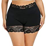 HOOUDO Women Sexy Plus Size Mid Waist Lace Hot Shorts Elastic Sports Pants Trousers Trunks Ultra Thin Stretch Boxer Short Leggings Cotton Crotch Knickers Summer Winter Safety Under Pants (L,2#Black)