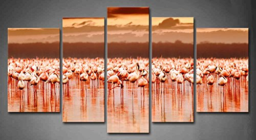 First Wall Art - 5 Panel Wall Art Pink African Flamingos In The Lake Over Beautiful Sunset Kenya Nature Lake Nakuru National Park Reserve Painting The Picture Print On Canvas Animal Pictures For Home Decor Decoration Gift piece (Stretched By Wooden Frame, by Firstwallart