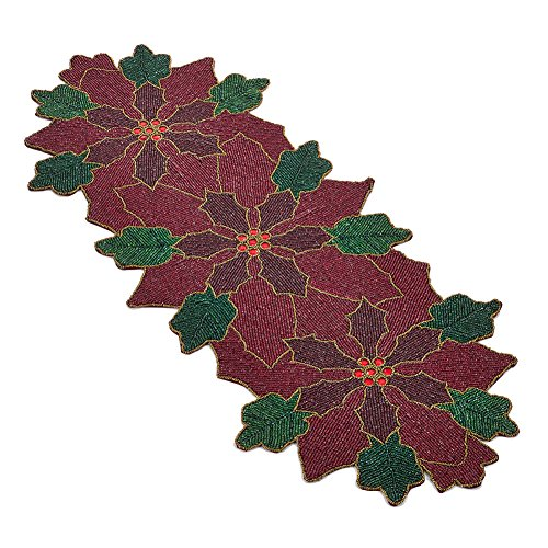Occasion Gallery Red & Green Beaded Christmas Holiday Poinsettia Flower Table Runner, 15