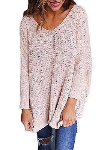 Sidefeel Women Baggy Sweater Oversized Knitted V Neck Pullovers Small Pink
