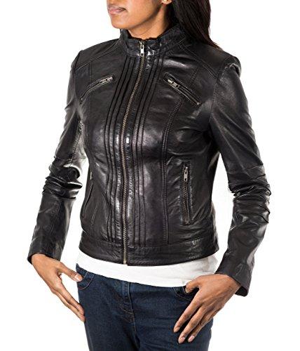 Femmes noir en cuir souple ˆ petit col vertical c™telŽ design ŽlŽgant moteur biker Blouson